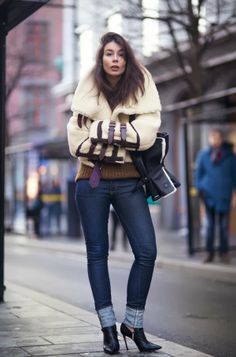 Burberry prorsum shearling aviator, Isabel Marant sweater, Saint Laurent jeans and Gianvito Rossi boots