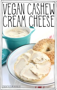 Vegan Cashew Cream Cheese - 3 ways! 6 ingredient, easy to make, cream cheese plus optional additions so you can make a fruit cream cheese, such as strawberry or pineapple, or a garlic & herb cream cheese. Perfect creamy, slightly tangy, spreadable, vegan cream cheese. Dairy-free. #itdoesnttastelikechicken #veganrecipes #vegancheese #vegetarian #cleaneating #foodgasm #healthyfood #veganfood #veganrecipes #dairyfree via @bonappetegan