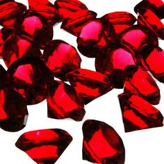 """CYSExcel Acrylic Crystal Diamond Gemstones Vase Filler Size: 1.18"""" H x 1.18"""" W x 1.18"""" D, Color: Red"""
