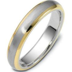 $335 - Mens 14k Two Tone Gold Wedding Band Mans Rings 5mm