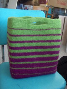 Incredible felted knitting bag. Even better if you add more colors and make it a bit larger.