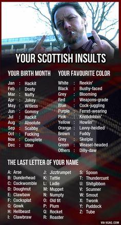 Keep yer heid, ye absolute weasel-headed spoon! Scottish Words, Scottish Quotes, Scottish Gaelic, Scottish Clans, Scottish Highlands, Scottish Tattoos, Scottish Insults, Outlander, Scotland Funny