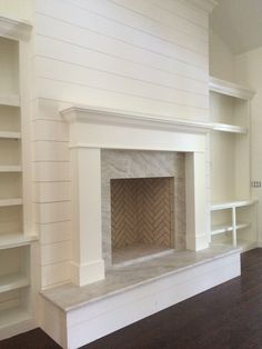 Love this fireplace remodel! Would be so pretty with a wood stove sitting inside.