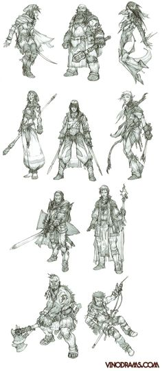 My best guess, starting at top left: bard, cleric, sorceress, monk, fighter, ranger, paladin, wizard, barbarian, rogue