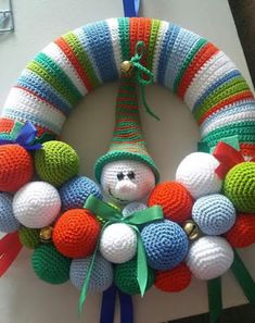 Crochet Patterns Christmas Crochet Christmas Wreath - Repeat Crafter MeHi there 1 you ll need a polystyrene ring mine measures 25 cm in diameter and has a flattened back 2 crochet a cover – Artofit Crochet Christmas Wreath, Crochet Wreath, Holiday Crochet, Crochet Gifts, Crochet Toys, Christmas Crafts, Wreath Crafts, Diy Wreath, Snowman Wreath