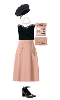 """""""Beige and Black Larme Kei"""" by this-perfect-dream ❤ liked on Polyvore featuring RED Valentino, Yves Saint Laurent, women's clothing, women's fashion, women, female, woman, misses and juniors"""