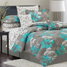 teal bedspread floral turquoise and grey