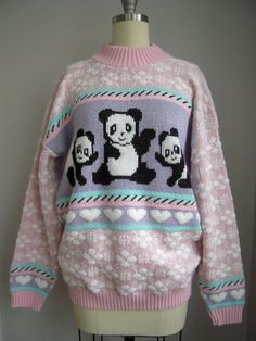 Vintage 1980's Sparkling Fairy Kei Kawaii Pink Panda & Hearts Sweater SML in Clothing, Shoes & Accessories, Vintage, Women's Vintage Clothing, 1977-89 (Punk, New Wave, 80s), Sweaters | eBay