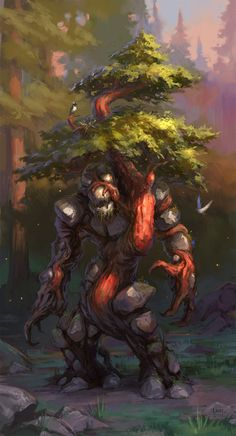 Forest Golem by Lane Brown Forest Creatures, Fantasy Creatures, Mythical Creatures, Creature Concept Art, Creature Design, High Fantasy, Fantasy Rpg, Cool Monsters, Fantasy Kunst