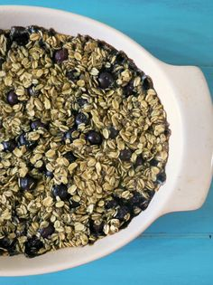 Power it Up Blueberry Vanilla Baked Oatmeal - A healthy, vegan, energizing, breakfast made with gluten free oats, chia seeds, almond milk and is chock full of plump blueberries and has the most amazing vanilla flavor.