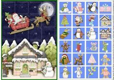 A novelty christmas card to be used every day. Like an advent calendar a new window is opened each day to reveal a cute christmas image. Simply cut the windows with a craft knife, mount the front window layer flat on top of the image sheet, with glue or thin double sided tape. Mount onto your own card.  I have other advent cards with different images. Just click on my name above, to enter my shop area and type advent into the search box, if you'd like to see more of these designs.