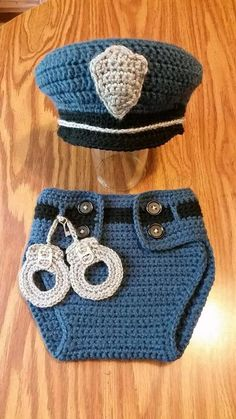 Items similar to PATTERN infant photo prop costume police officer cop with handcuffs Crochet pattern only on EtsyThis is a Pattern, not a finished product. Any requests for refunds for mistakenly purchasing this listing looking for a completed set wi Crochet Baby Cocoon, Crochet Baby Clothes, Newborn Crochet, Crochet For Boys, Free Crochet, Knit Crochet, Crochet Hats, Crochet Costumes, Crochet Outfits