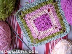 Красивый мотив для пледа. Knit crochet squares for plaid.
