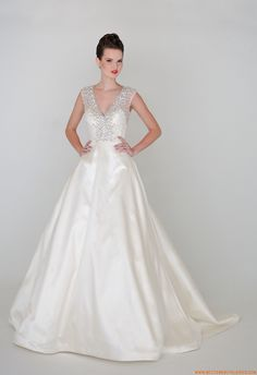 2015 A-linie Schlichte Dramatische Brautkleider aus Taft mit Perlenstickerei