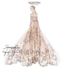 A #hautecouture sketch by Maria Grazia Chiuri and Pierpaolo Piccioli of the custom gown Frida Giannini wore to her wedding with Patrizio di Marco yesterday.