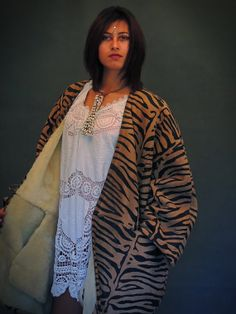Vtg Shearling lamb coat double breast trench Jungle by Andeebird, $348.00