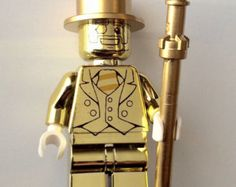 Lego Mr Gold Custom Chrome Minifigure Series 10 Mini fig 71001