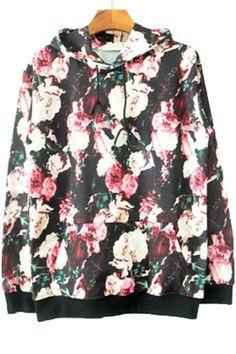 Retro Floral Print Hoodie OASAP.com
