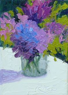 Summer Medley, Hydrangeas & Sweet Peas ACEO Floral Oil, painting by artist Roxanne Steed