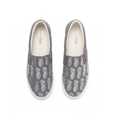 Women's Pineappleade Gray/Silver Leather Slip On Sneaker   BucketFeet
