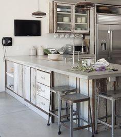 Concrete Counter Tops... worn wood.. metal... INDUSTRIAL BEAUTIFUL
