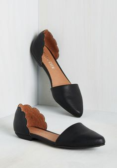 On the Scallop and Up Flat. Mood improvement, wardrobe elevation - is there anything these black flats cant accomplish? #black #modcloth