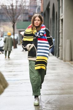 Lessons In Layering From The Streets Of New York City #refinery29  http://www.refinery29.com/2016/02/103173/ny-fashion-week-fall-winter-2016-street-style-pictures#slide-16  Now, that's a striped scarf....