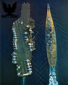A US Navy Carrier and Battleship perform an underway replenishment at sea. Very rare to see!