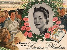 1943 Duchess of Windsor in Chesterfield cigarette ad by Vividiom, $8.00