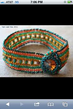 Bead loom bracelet bright