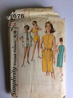 Vintage 70s Simplicity Sewing Pattern 4876 - Size 18 - Bust 38 inches - Vintage Dress Sewing Pattern - Vintage Beachwear Pattern