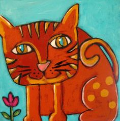 Cat Drawing, Painting & Drawing, Laurel Burch, Lost Pictures, Orange Cats, Funky Art, Outsider Art, Whimsical Art, Animal Paintings