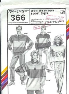 Stretch & Sew Pattern 366 ~  Adults' and Children's Sport Tops