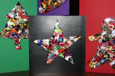 Home Made Christmas Cards - Kids Craft cute, easy. sequins, glue, scissors and cards. Simple Christmas Cards, Christmas Card Crafts, Homemade Christmas Cards, Noel Christmas, Christmas Card Ideas With Kids, Christmas Cactus, Christmas Projects, Christmas 2019, Homemade Cards