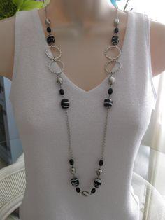 Largo negro y collar de perlas grueso collar por RalstonOriginals