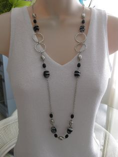 Long+Black+and+Silver+Beaded+Necklace+Chunky+by+RalstonOriginals,+$18.00