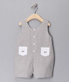 Gingham Dog John John- pockets with same fabric instead?