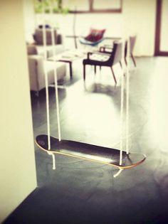 A skateboard swing lets little daredevils catch big air.