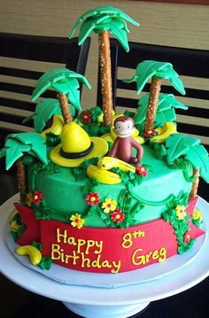 Curious George Jungle Cake I made this cake for my son's birthday. I made it very similar to the one on this site from ChristyB. Curious George Cakes, Curious George Party, Curious George Birthday, Fancy Cakes, Cute Cakes, Beautiful Cakes, Amazing Cakes, Super Torte, Monkey Birthday