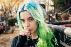 Chloe with green hair