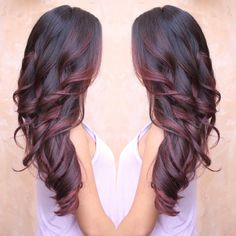 Burgundy and red colormelt - Balayage