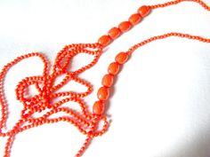 orange beaded chunky long necklace layered boho chic by artsgifts, $6.99