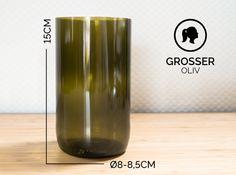 Gläser - GROSSER / Ø 8-8,5CM / OLIVGRÜN (Glas / Vase) - ein Designerstück von Glaeserne_Transparenz bei DaWanda