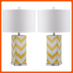 Safavieh Lighting Collection Chevron Stripe Yellow 27-inch Table Lamp (Set of 2) - Improve your home (*Amazon Partner-Link)