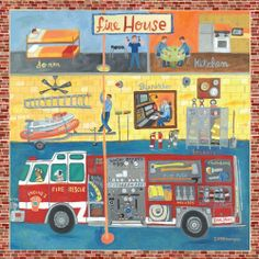 Oopsy daisy Firehouse Stretched Canvas Wall Art by Donna Ingemanson, 39 by 39-Inch by Oopsy daisy, Fine Art for Kids. $245.21. Made in the Unites States. Sawtooth makes it easy to hang. Giclee on canvas. Wipes clean with damp cloth. No framing required. Our children's stretched canvas wall art reproductions are created in Oopsy daisy's San Diego studios where we print in the best digital method currently available, achieving great clarity and color resolution in eac...