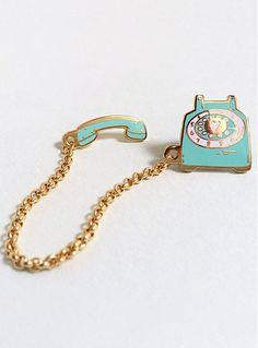 Retro Telephone Call Me Cute Collar Pins