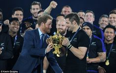 All Blacks skipper McCaw, who's not made a call on his future, receives The Webb Ellis Cup from Prince Harry