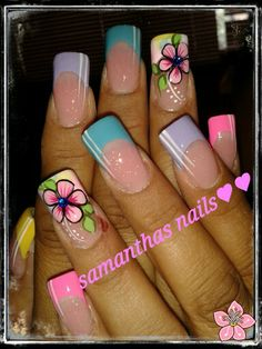 Flores Fancy Nails Designs, Flower Nail Designs, Flower Nail Art, Nail Art Designs, Trendy Nail Art, Cute Nail Art, Hot Nails, Hair And Nails, Spring Nails