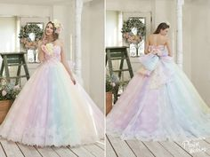 Utterly blown away by this rainbow pastel gown from Nicole Collection!
