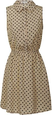 Beige with Black Polka Dot Button Up Dress